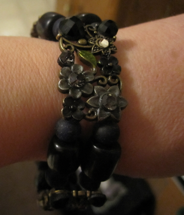 Black floral slide bracelet by BlackUnicornWood