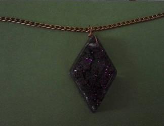 Purple glitter diamond resin pendant by BlackUnicornWood