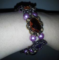 Viloet and gold slide bracelet by BlackUnicornWood