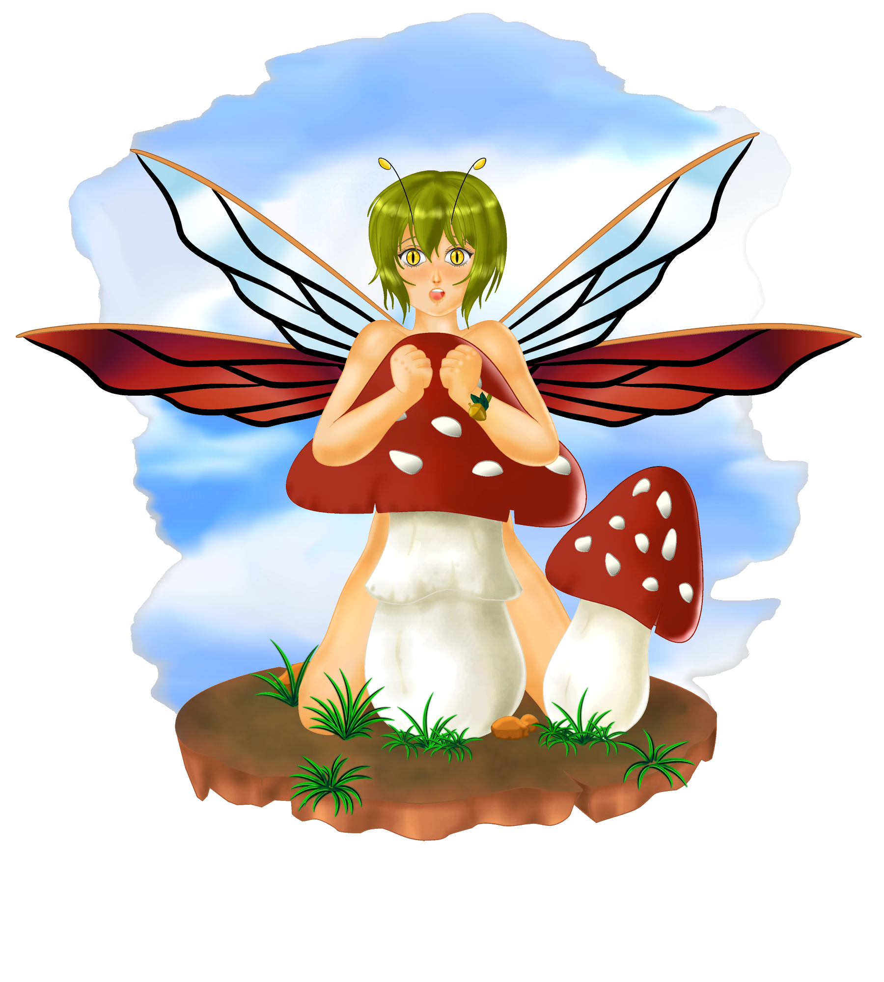 Mushroom fairy redraw by aciampal on deviantart for Fairy on a mushroom drawing