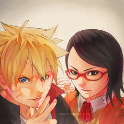 Boruto and Sarada by ilaBarattolo