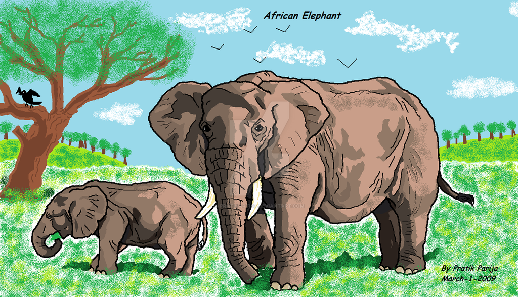 Elephant and calf by p...