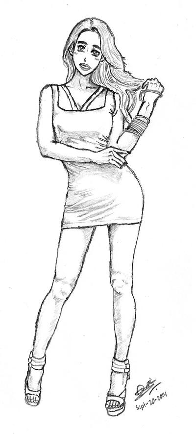 Sexy Anime girl based on a model by pratikartist