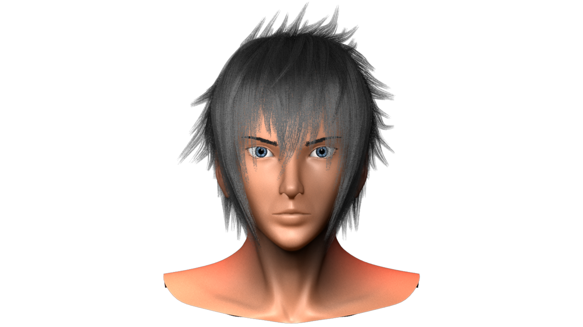 Final Fantasy XV - 3D Noctis head progress 5 front by pratikartist