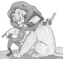 Mufasa and Rafiki hug by lordsnoopy