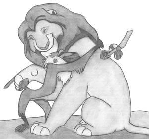 Mufasa and Rafiki hug