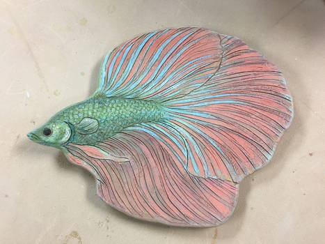 Betta Fish plate (before firing, underglaze)