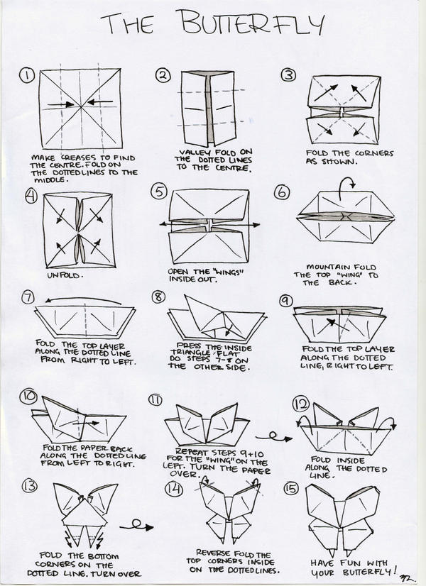 Traditional Origami Butterfly Instructions