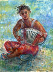 Girl with accordion sketch
