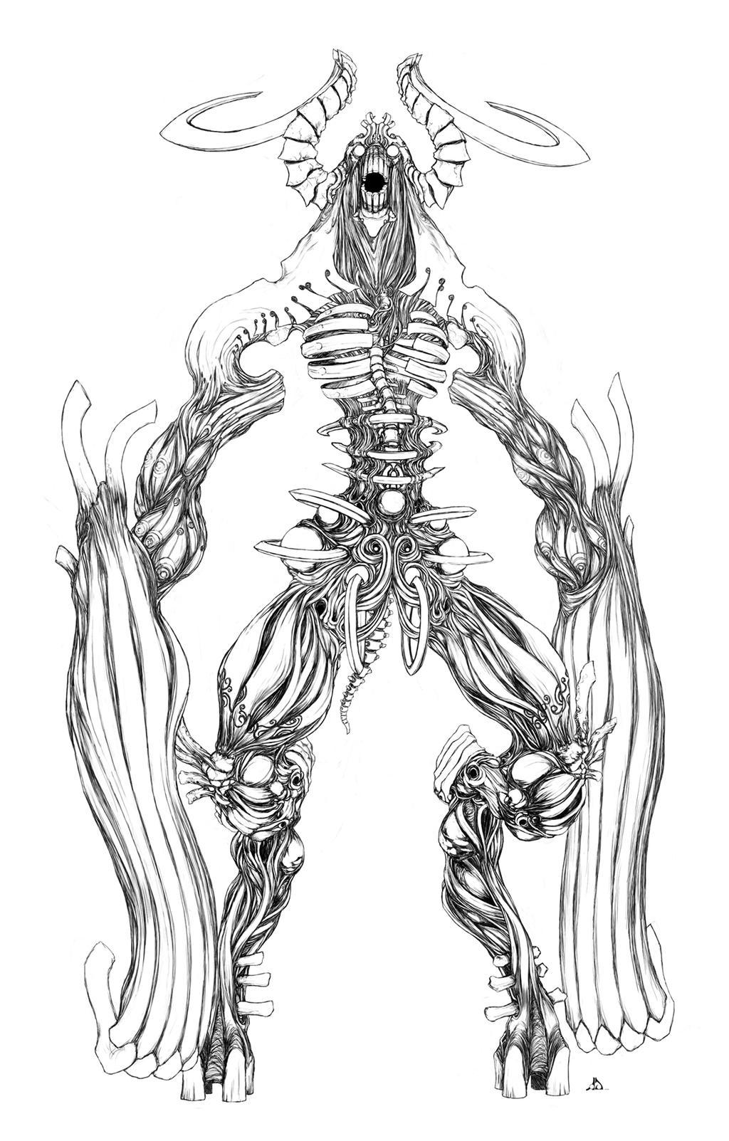 Line Art Painting : Colossal beast line art by conceptualmachina on deviantart