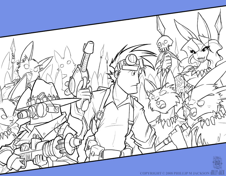 Rabbits and Rayguns - Lineart by jollyjack