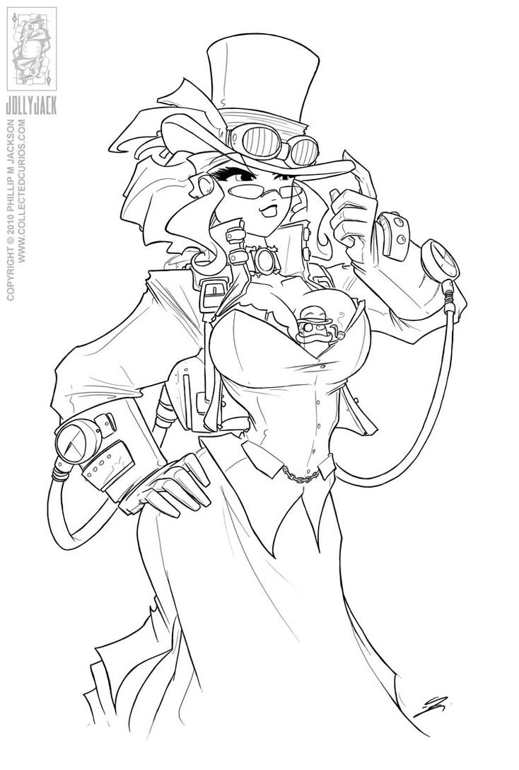 steampunk girl coloring pages - photo#13