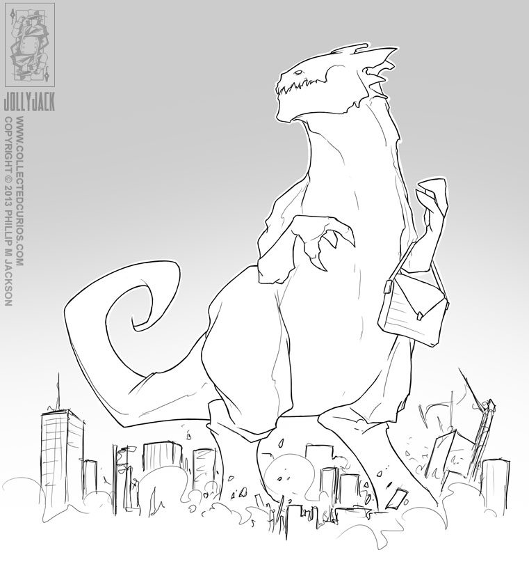 Godzilla with a handbag. by jollyjack