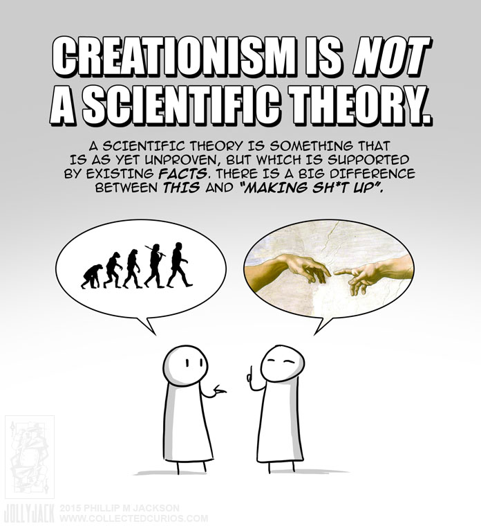 a comparison of creationism and evolution theories If the evolution theory is taught, then the theory of creation should be taught also many aspects of evolution have been proven to be either wrong or right, such as moon dust, magnetic fields, fossil records, probabilities, vestigial organs.