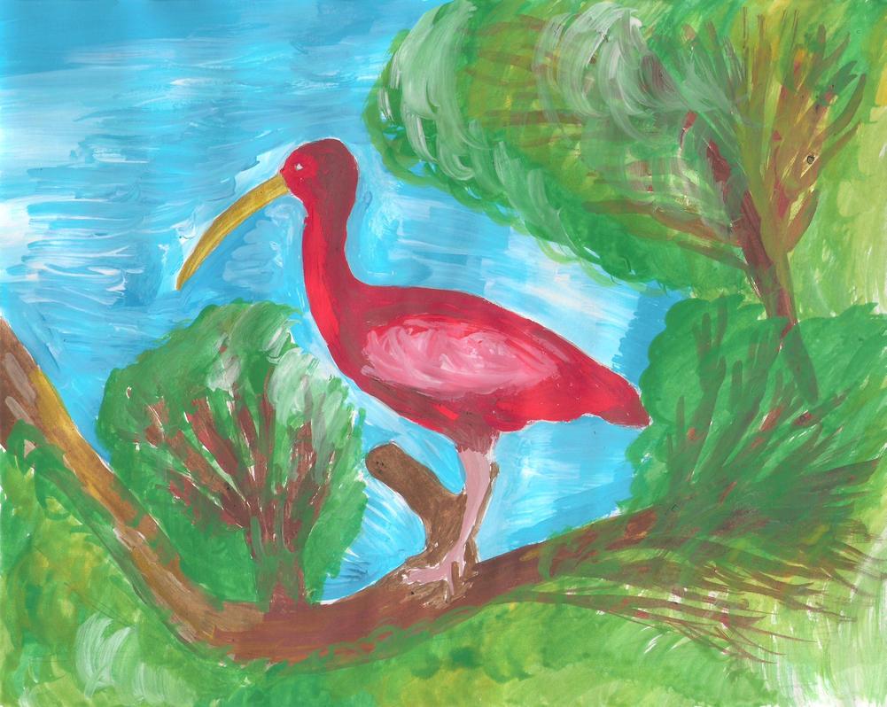 Pajaro rojo sobre una rama by invaderjavi