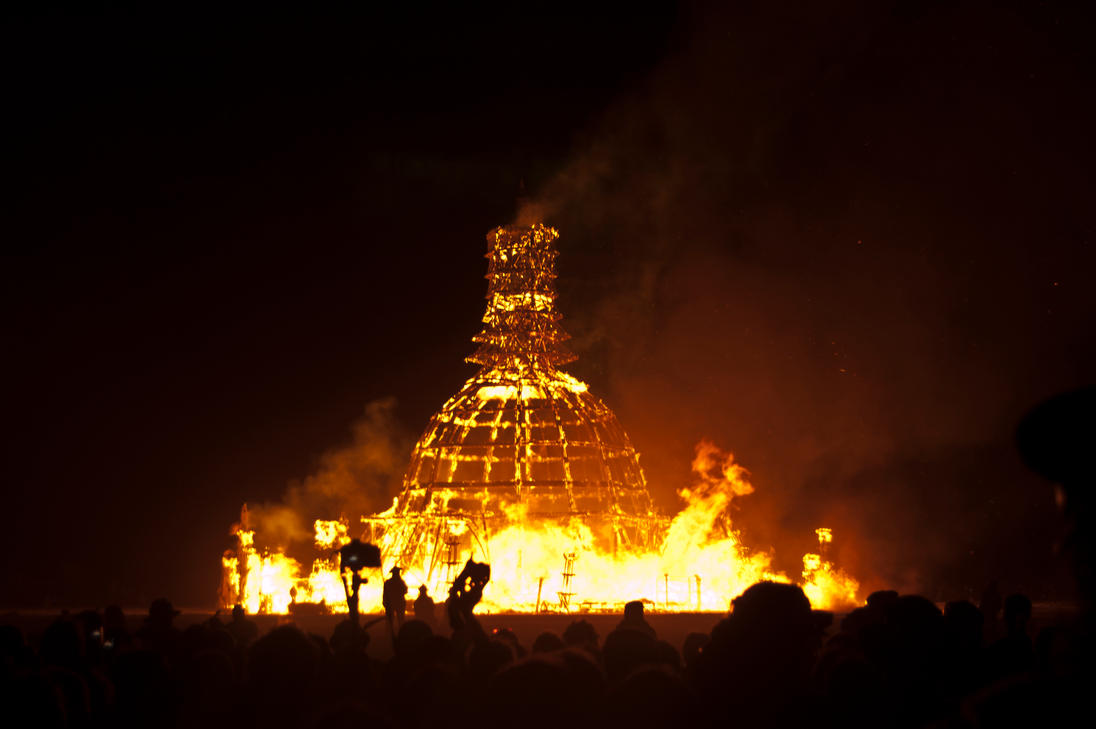 Burning Man 2014 Temple Burn by Eesu