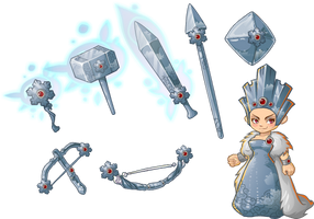 Unsung Heroes Ice Cloth and weapons by iljashap
