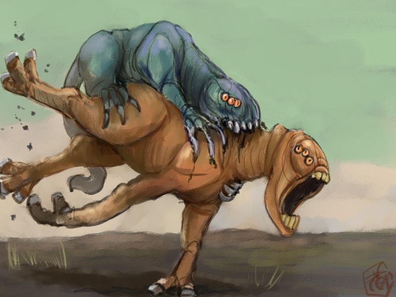 Alien predator gets alien prey by Crowsrock