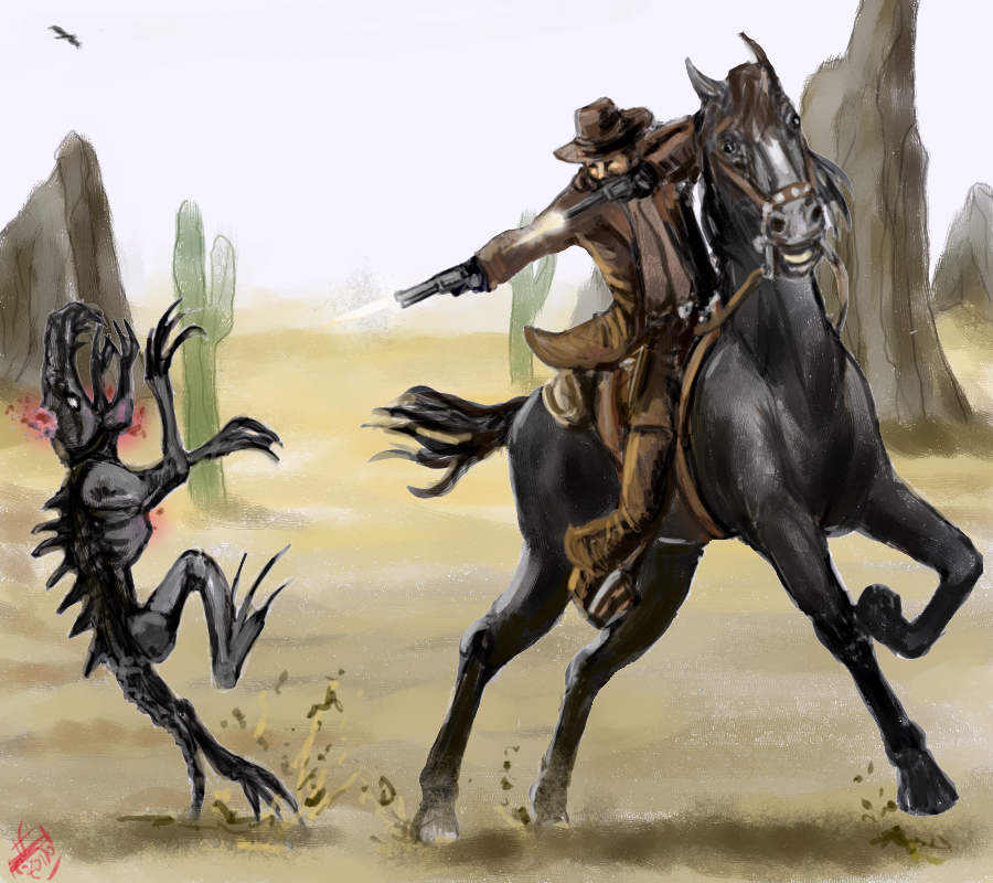 Cowboy vs. alien by Crowsrock