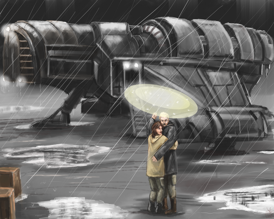 DSG 1635: Sci-Fi • A COUPLE EMBRACE UNDER UMBRELLA WHILE SPACESHIP WAITS IN THE RAIN