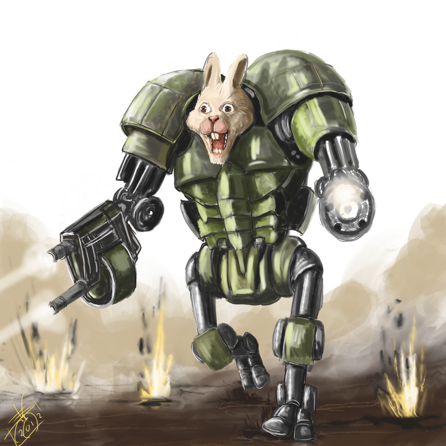 DSG 1642 : Sci-Fantasy • SHINY HULKING CYBORG'S HEAD IS THAT OF SOME CUTE LIL' ANIMAL