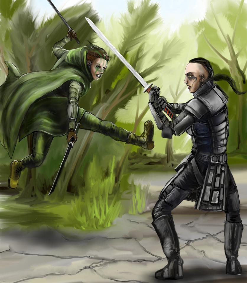 Eco-Ninja vs. Techno-Samurai by Crowsrock