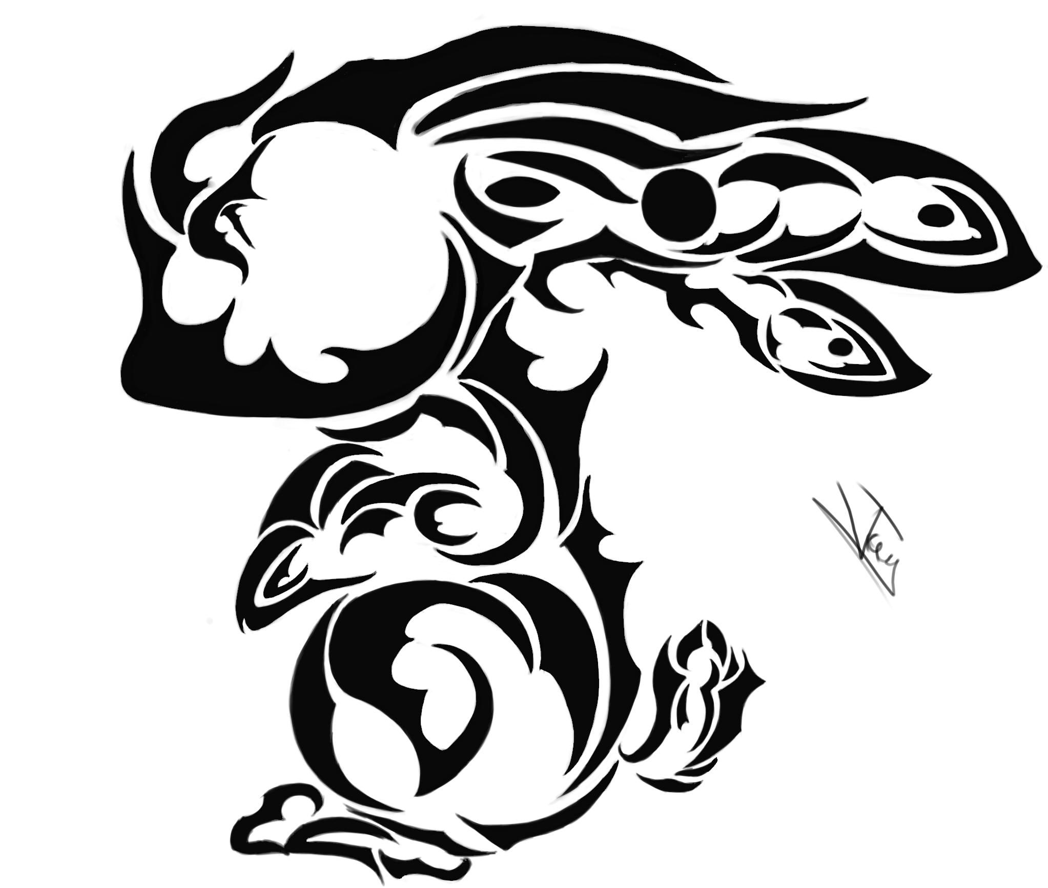 Rabbit Tattoo Art Rabbit Tribal Tattoo by