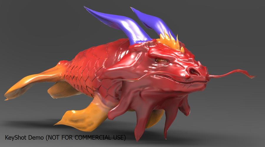 Koi fish dragon using keyshot2 by ragevortex on deviantart for Dragon koi fish