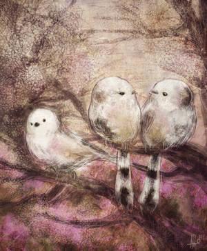 Little birds (Aegithalos caudatus) by PoAnna
