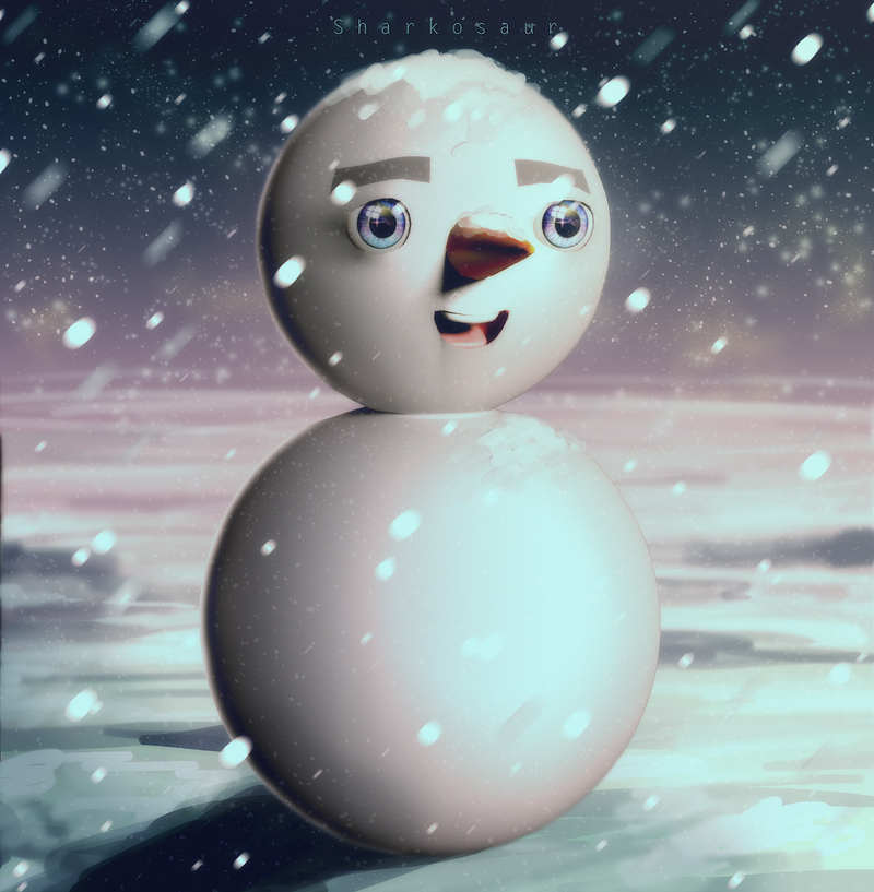Happy Snowman by Sharkosaur