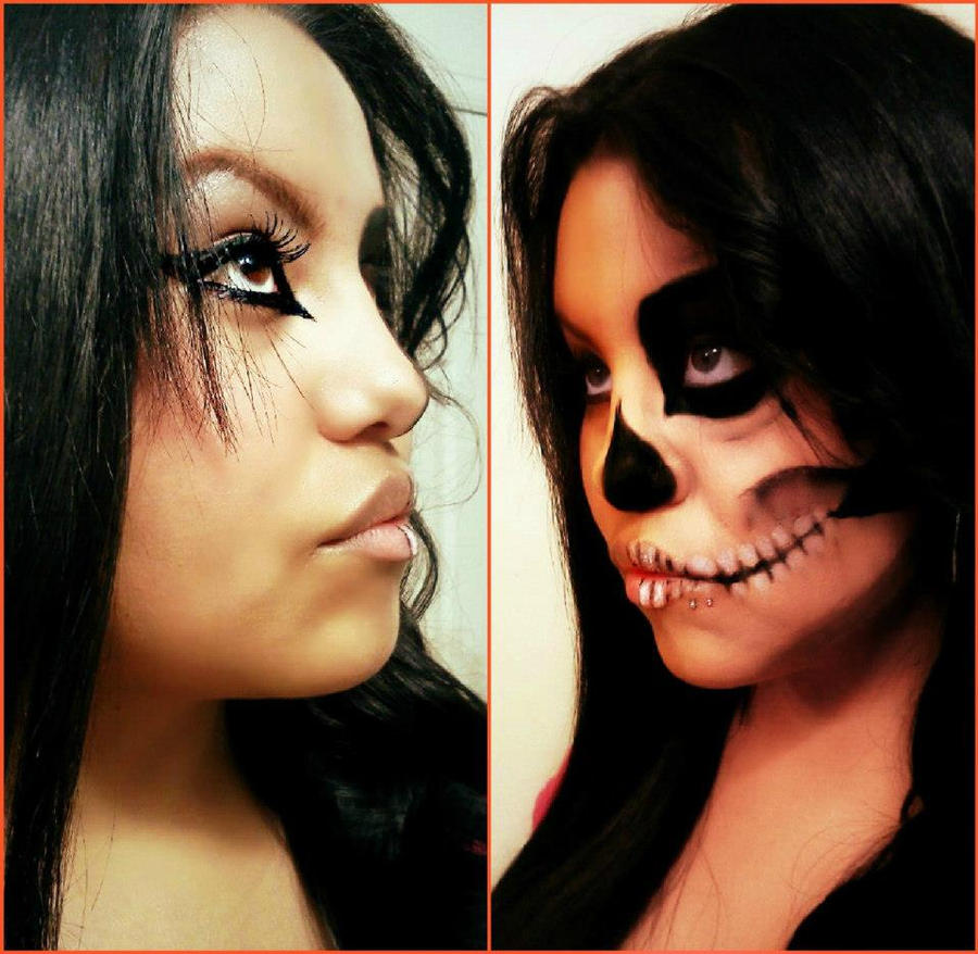 halloween half face paint ideas half skull by nativecartoon on deviantart - Halloween Skull Face Paint Ideas