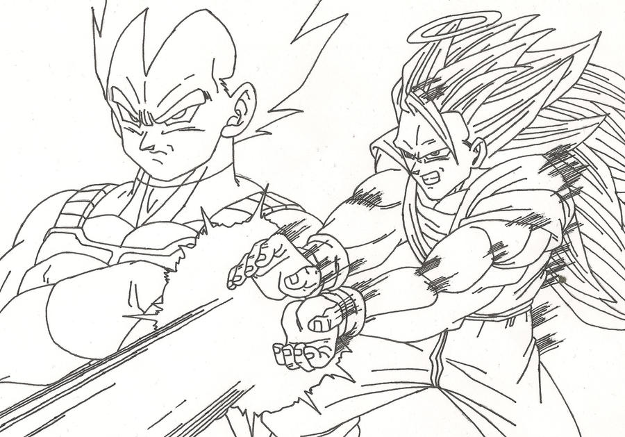 Dibujo De Goku Kakarotto Peleando Contra Vegeta Para: Goku And Vegeta By Sparten69r On DeviantArt
