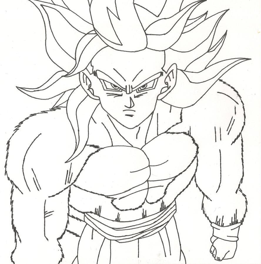 goku super saiyan 3 coloring pages - super saiyan 4 goku by sparten69r on deviantart
