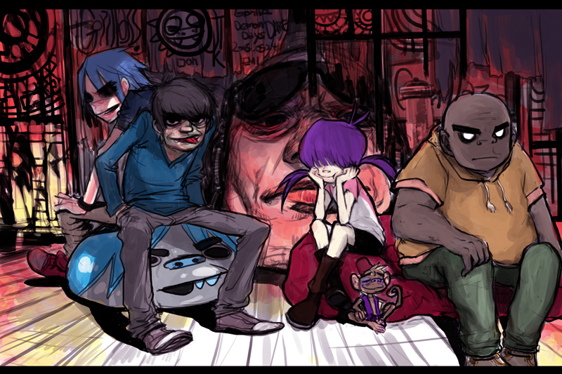 Gorillaz in Dare room by kamizH on DeviantArt