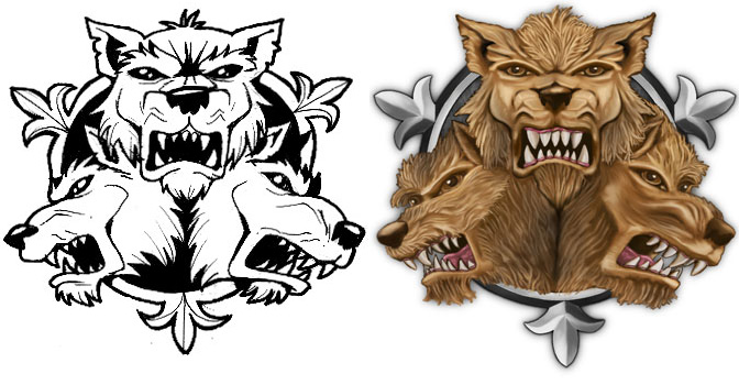 Cerberus Logo-before/after by Fred73fr