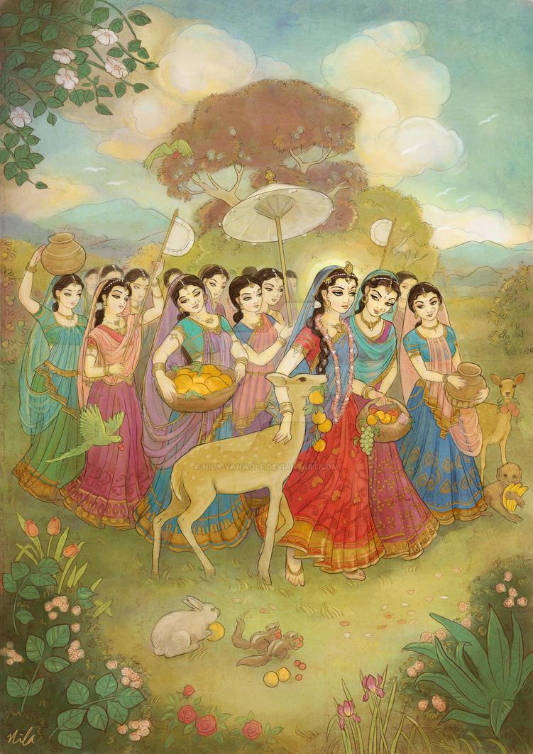 Radha walks to Nandagaon by Nila-Vanwolf