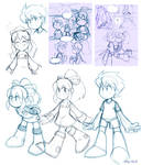Megaman and Roll in a rainy day comics sketch2