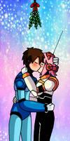 Megaman X and Nana kissing under a mistletoe