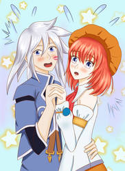 Tales of Symphonia:Genis and Seles crush in a park by meteorstom