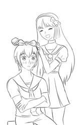 Kof: Athena and Chris dressed as kagamine