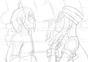 Megaman ZX: Thetis and Prairie mistletoe kiss