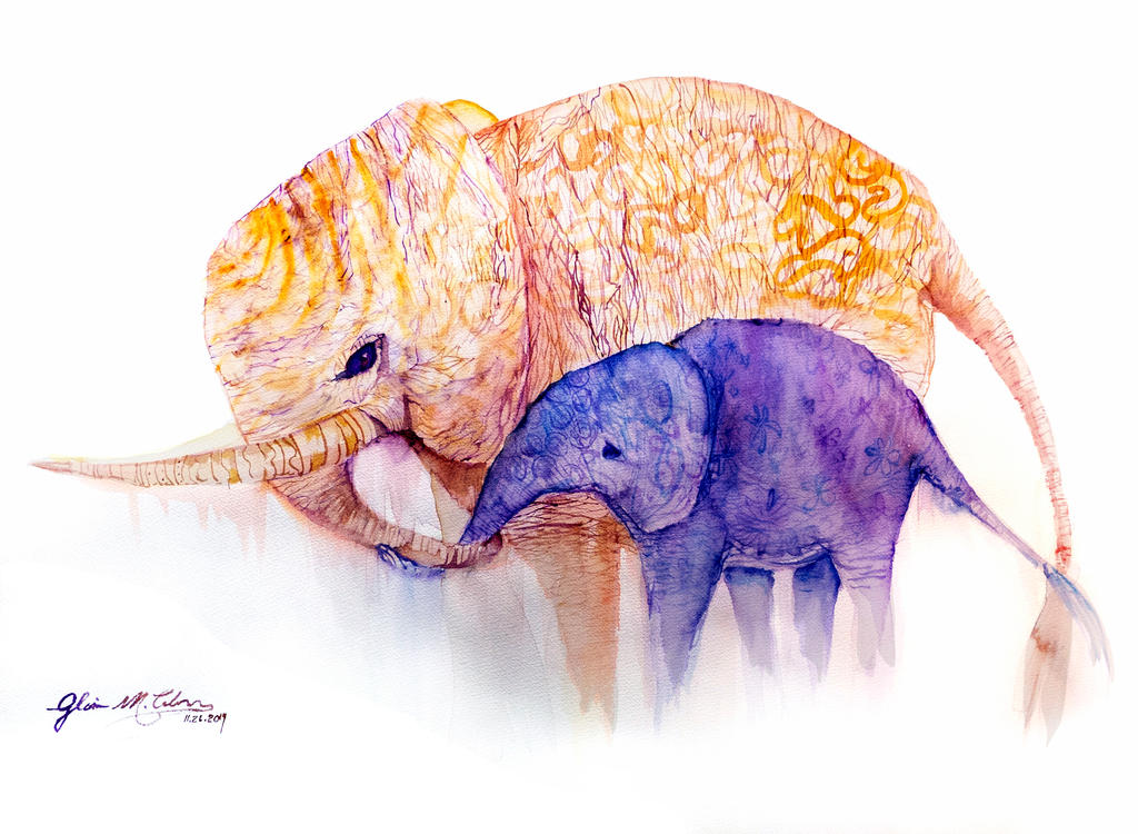 Elephant mom and baby by ArtbyGloriaColom