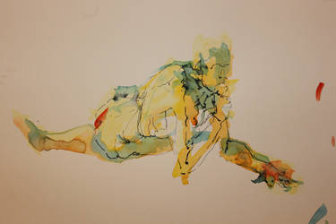 Reclining nude watercolour by zimeatworld