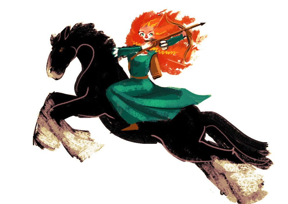 Merida rides by BakaAya