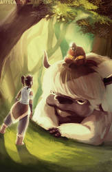 Korra visits Aang and Appa in the Spirit World by Attyca