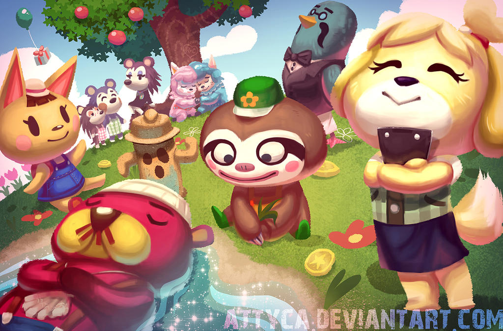 Animal crossing new leaf by attyca on deviantart for Animal crossing mural