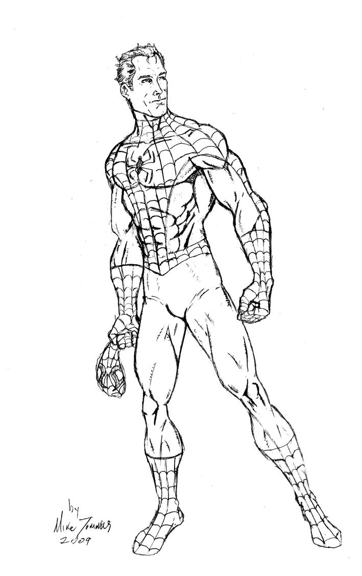 Draw Spider Man As Peter Parker Sketch Coloring Page