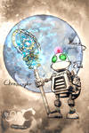 Clank with Chronoscepter in front of the moon