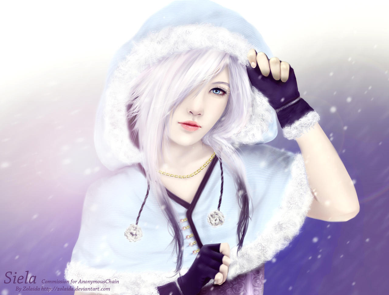 Anime Girl Cutting Herself Snow Star  So Costume