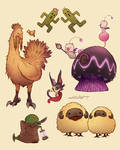 Final Fantasy mascots sketch drawings